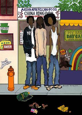 Zee Hoody Boyz Art Print by Karen-Lee