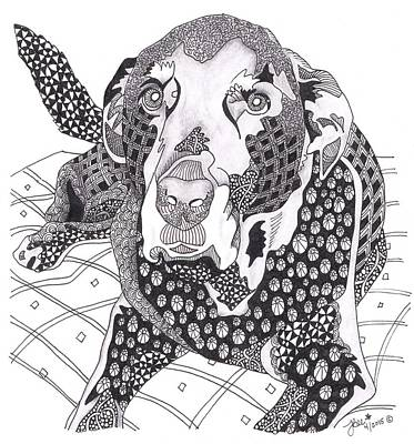 Drawing - Zentangle Dog by Jan Steinle