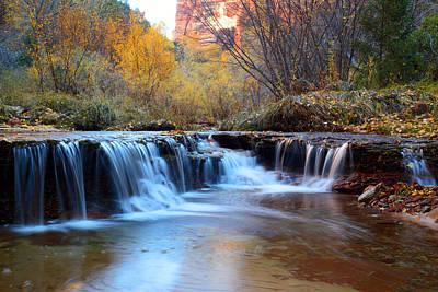 Utah Photograph - Zion Autumn Foliage Waterfall by Pierre Leclerc Photography