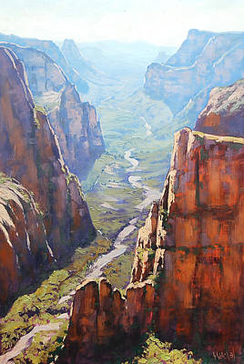 Southwest Desert Painting - Zion Canyon by Graham Gercken