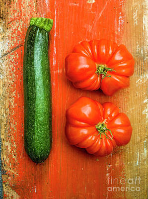 Food And Drink Photograph - Zucchini And Tomatoes by Bernard Jaubert