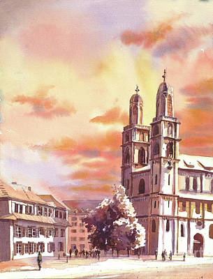 Painting - Zurich Sunset by Ryan Fox