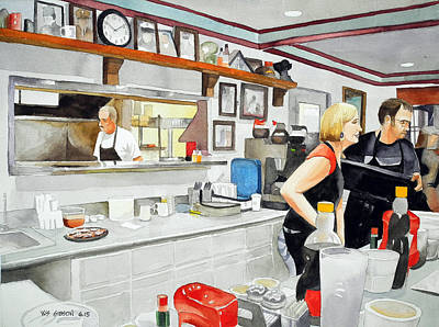 Snack Bar Painting - 10-10 At The Diner by Bill Gibson