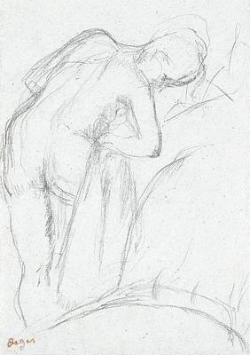 Feminine Drawing - After The Bath by Edgar Degas