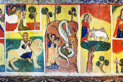 Photograph - Ancient Orthodox Church Interior Painted Walls In Gondar Ethiopi by Jacek Malipan