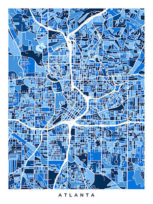 Digital Art - Atlanta Georgia City Map by Michael Tompsett