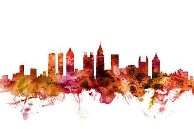 Digital Art - Atlanta Georgia Skyline by Michael Tompsett
