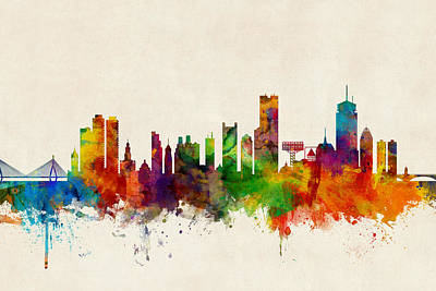 Boston Digital Art - Boston Massachusetts Skyline by Michael Tompsett