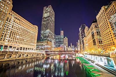 Photograph - Chicago Illinois City Skyline At Night Time by Alex Grichenko