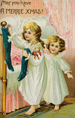 Sisters Drawing - Christmas Card by American School