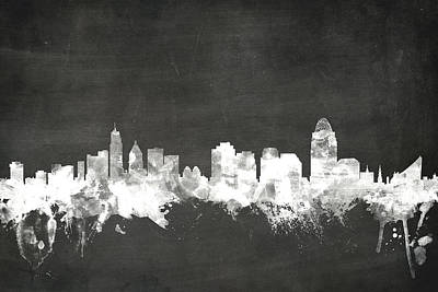 Cincinnati Ohio Skyline Art Print by Michael Tompsett