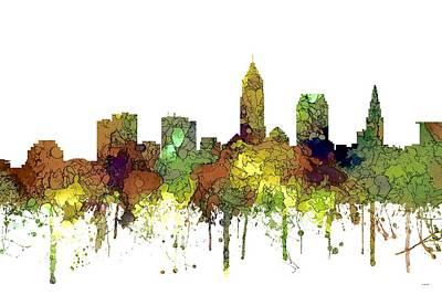 Digital Art - Cleveland Ohio Skyline by Marlene Watson