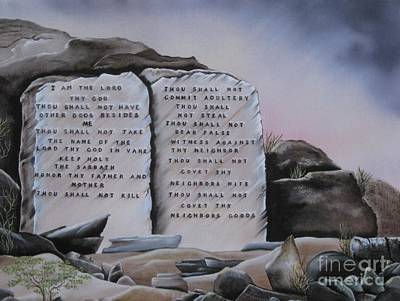 Painting - 10 Commandments by RJ McNall