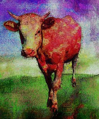 Cattle Painting - Cow by Elena Kosvincheva