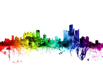 Rainbow Digital Art - Detroit Michigan Skyline by Michael Tompsett