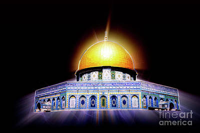 Manipulated Digital Photograph - Dome Of The Rock by Shay Levy