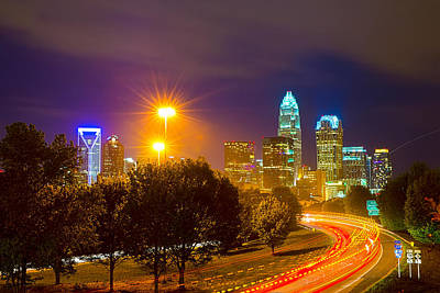 Downtown Of Charlotte  North Carolina Skyline Art Print by Alex Grichenko