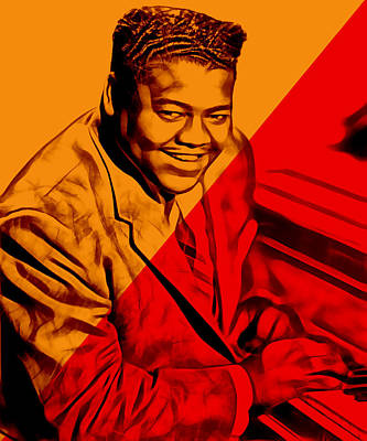 Blue Art Mixed Media - Fats Domino Collection by Marvin Blaine