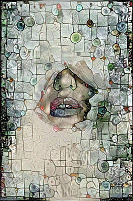 Feminine Digital Art - Hidden Face With Lipstick by Amy Cicconi