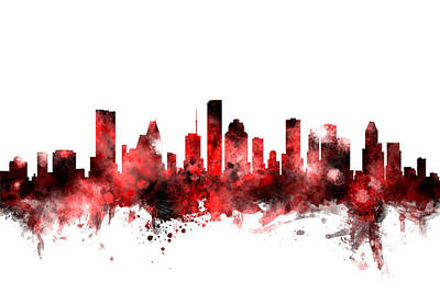 Houston Digital Art - Houston Texas Skyline by Michael Tompsett