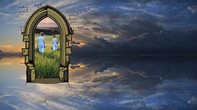 Surreal Reality Photograph - Large Vibrant Panorama Image Of Stormy Sunset Sky With Reflectio by Matthew Gibson