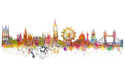 Skylines Drawings - London Skyline by Michal Boubin