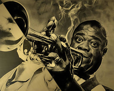 Louis Armstrong Collection Print by Marvin Blaine