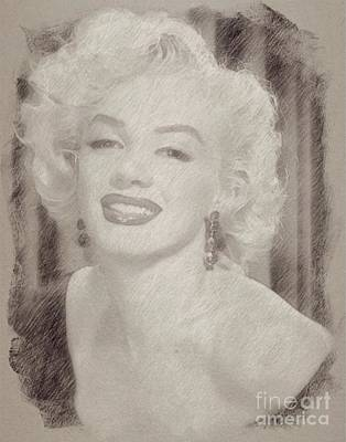 Marilyn Monroe Drawing - Marilyn Monroe Vintage Hollywood Actress by Frank Falcon