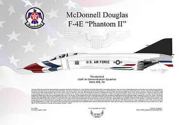 Art Print featuring the digital art Mcdonnell Douglas F-4e Phantom II Thunderbird by Arthur Eggers