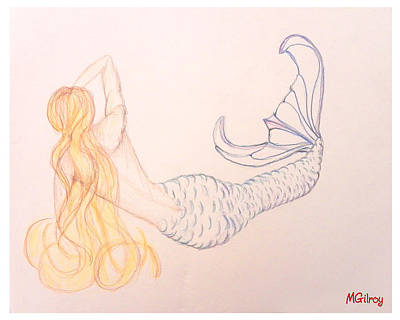 Satellite Drawing - Mermaid by M Gilroy