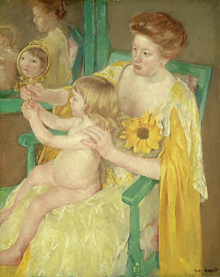 Mirror Painting - Mother And Child by Mary Cassatt