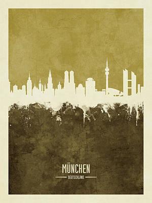 Digital Art - Munich Germany Skyline by Michael Tompsett