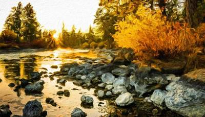 Winter Painting - Nature Cool Landscape by Margaret J Rocha