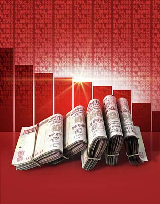 Forecast Digital Art - Negative Market Money by Allan Swart