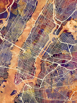 Map Of New York Digital Art - New York City Street Map by Michael Tompsett