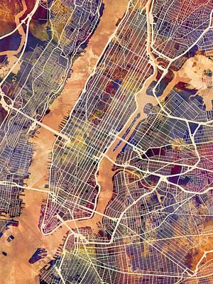 Wall Art - Digital Art - New York City Street Map by Michael Tompsett