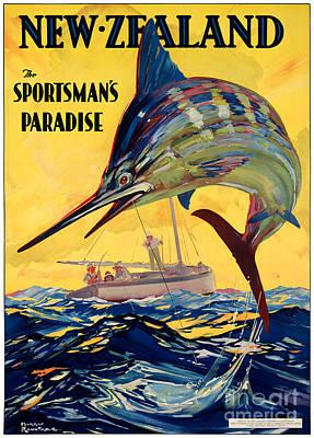 Swordfish Mixed Media - New Zealand Vintage Travel Poster Restored by Carsten Reisinger