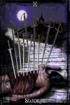 Digital Art - 10 Of Swords by Tammy Wetzel