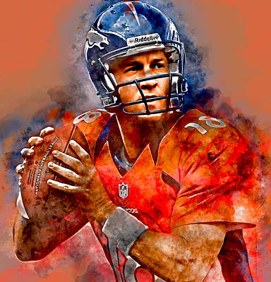 Football Mixed Media - Peyton Manning by Marvin Blaine