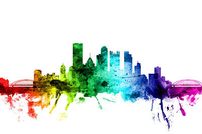 Rainbow Digital Art - Pittsburgh Pennsylvania Skyline by Michael Tompsett