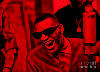 Retro Mixed Media - Ray Charles Collection by Marvin Blaine