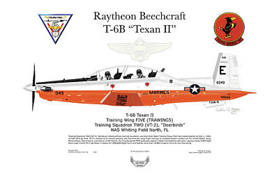 Digital Art - Raytheon Beechcraft T-6b Texan II by Arthur Eggers