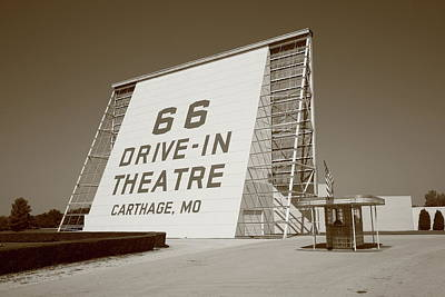 Route 66 - Drive-in Theatre Art Print by Frank Romeo