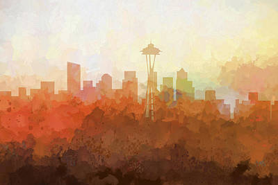 Digital Art - Seattle Washington Skyline by Marlene Watson