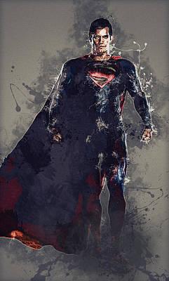 Superman Art Print by Elena Kosvincheva