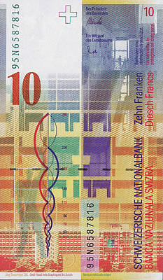Digital Art - 10 Swiss Franc Bill by Serge Averbukh