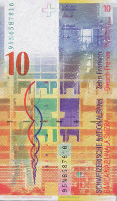 Digital Art - 10 Swiss Franc Pop Art Bill by Serge Averbukh