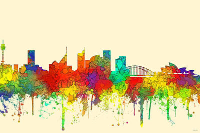 Digital Art - Sydney Australia Skyline by Marlene Watson