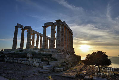 Shadow Photograph - Temple Of Poseidon During Sunset by George Atsametakis