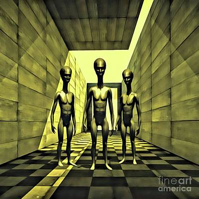 Science Fiction Rights Managed Images - The Alien Conspiracy Royalty-Free Image by Raphael Terra